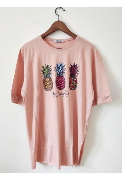 New Fashion Kuzey Fashion Ananas Baskılı Yanları Yırtmaçlı Tshirt