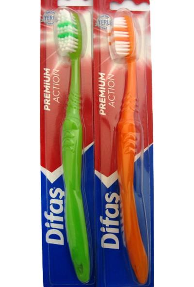 Difaş Premium Action Ergonomik Saplı Orta Diş Fırçası x 2 Adet