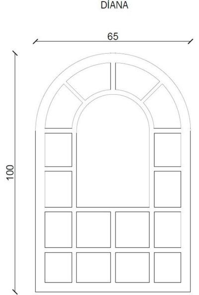 Mensa Beyaz Ahşap Pencere Görünümlü Diana Model Dekoratif Ayna