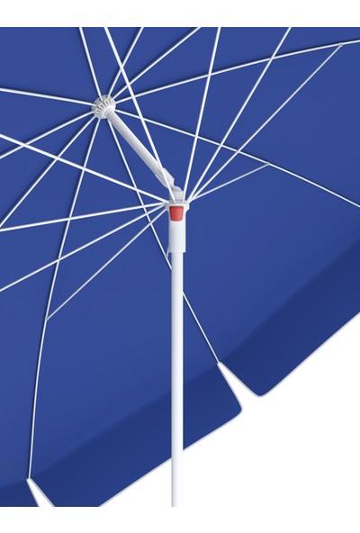 Tevalli Parasols 200 cm Elite Taşıma Çantalı Polyester Plaj Şemsiye - Saks Mavi