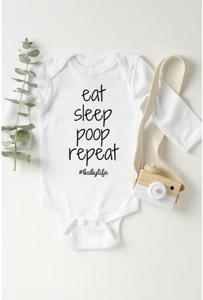 Limon Bebek Beyaz Eat Sleep Poop Repeat Uzun Kol Çıtçıtlı Body
