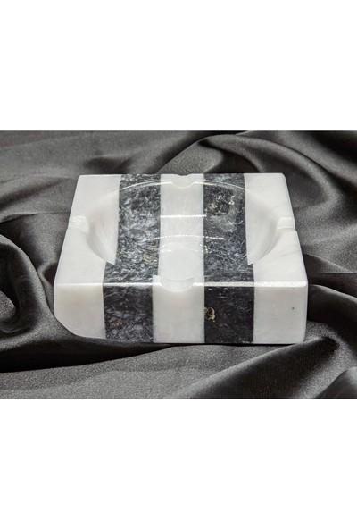 Pergamon Siyah Beyaz ℅100 Gerçek Mermer El Yapımı Küllük Kül Tabağı Tek Adet