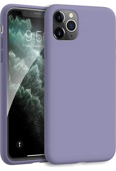 Fibaks Apple iPhone 12 Kılıf Lansman Içi Kadife Soft Yumuşak Dokulu Liquid Silikon Mor
