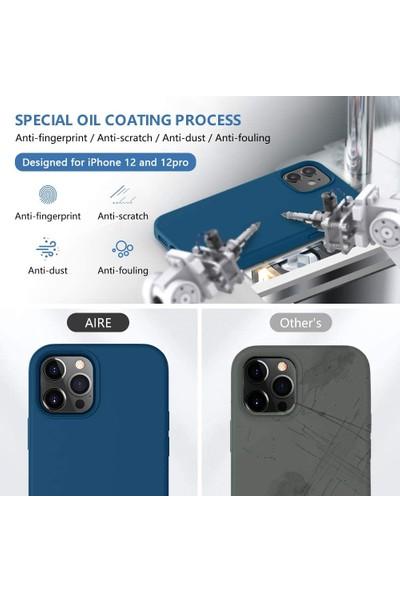 Fibaks Apple iPhone 12 Kılıf Lansman Içi Kadife Soft Yumuşak Dokulu Liquid Silikon Koyu Mavi