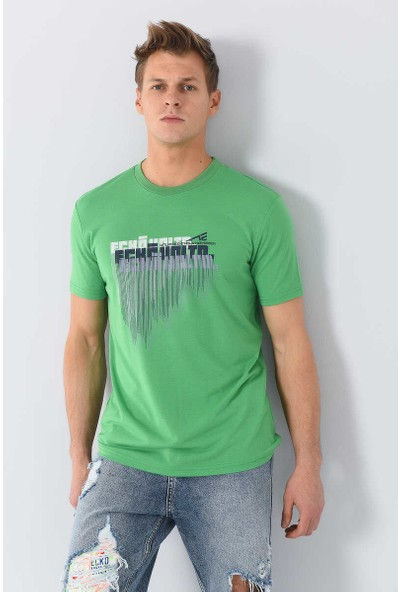 Tayra Yeşil Erkek Bisiklet Yaka Tshirt