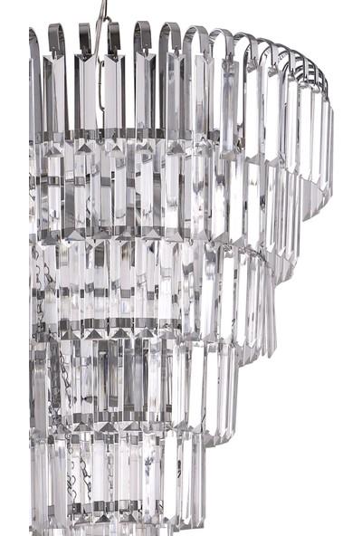 Çakır Aydınlatma Şelale 50'lik Kristal Taşlı 6 Katlı 6'lı Gümüş Krom Sarkıt Avize