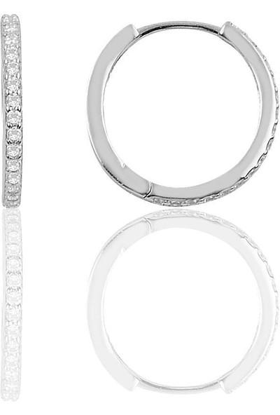 Bigakan Gümüş Halka Küpe Zirkon Taşlı Tamtur Gümüş Küpe 17 mm -Gümüş