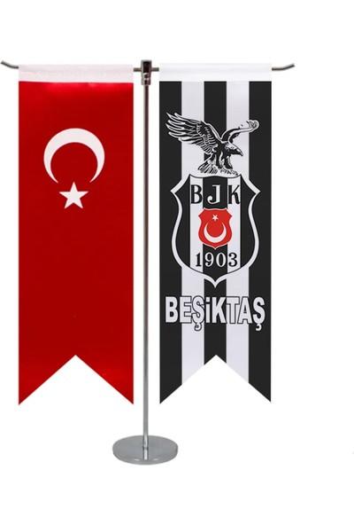 Beşiktaş Logosu + Türk Bayraklı T Masa Bayrağı