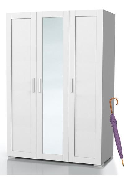 Dekorex PRT-312-BEYAZ Üç Kapaklı Aynalı Portmanto