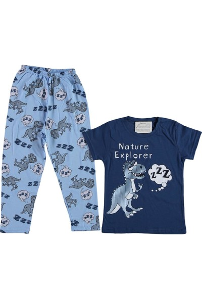 Erkek Çocuk Kısa Kollu Dinozor Baskılı Pijama Takımı