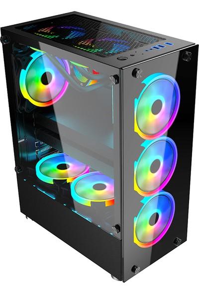 Gameforce GF-8307 Glass 4X120MM Rainbow Fanlı Oyuncu Kasası