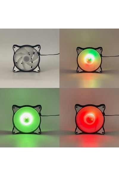 Wozlo 12CM Rainbow Sonsuz Renk LED Rgb Kasa Fanı