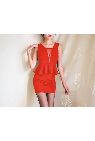 Somon Belden Volanlı Sırt ve Göğüs Dekolteli Tül Detaylı Kadın Elbise ERGÜ1493-3