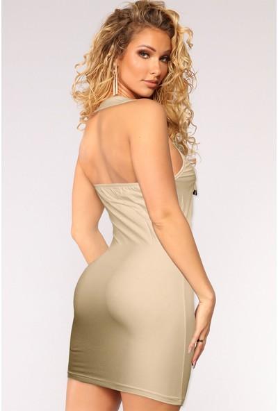 Ekru Bilezik Yaka Göğsü Brit Detaylı Kadın Elbise ERGÜ1445-3