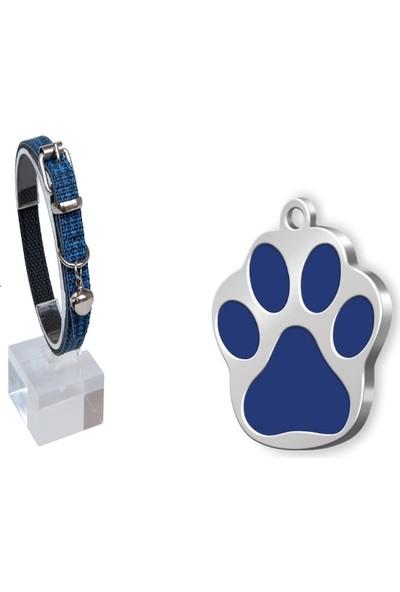 The Passage Lacivert Desenli Deri Kedi Köpek Boyun Tasması 30 Cm+Mineli Seri Pati Küçük Künye Mavi