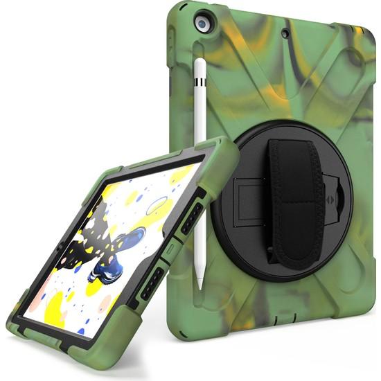 MobaxAksesuar Apple iPad 6 Nesil 9.7 2018 Kılıf Defender Askılı Zırhlı Tank Case A1893 A1954 Kamuflaj