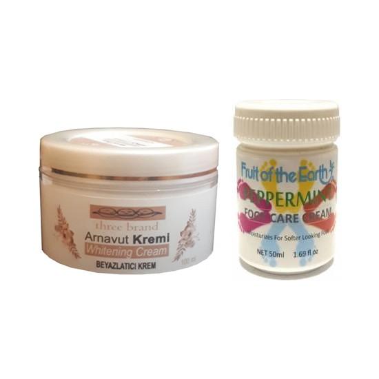 Three Brand 100 ml Arnavut Aklık Kremi+Foot Care Cream Cooling Peppermint 50 ml Ayak Bakım Kremi Nane Ferahlığı ve Kokusu