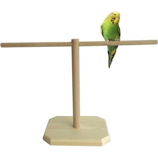 Uldemart Ahşap Muhabbet Kuşu Tüneği T Tünek 25 x 40 cm