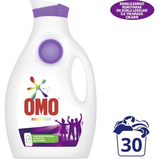 Omo Sıvı Çamaşır Deterjanı Renkliler İçin Renklilerinizi Koruyarak En Zorlu Lekeleri İlk Yıkamada Çıkarır 1950 ML 30 Yıkama 1 Adet