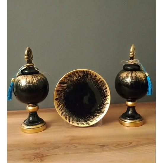 Arc Givalue Dekoratif Salon Aksesuar Seti / Siyah-Gold Renk - M
