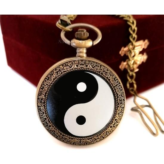 Denacci Yin Yang Siyah Beyaz Kişiye Özel Vintage Köstekli Saat Cep Saati Özel Kutusunda