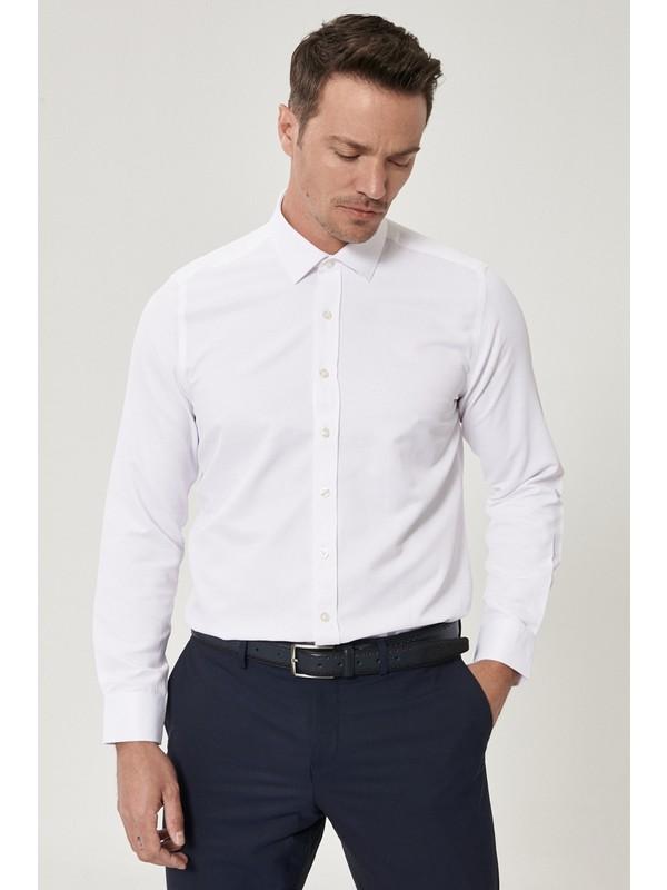 AC&Co / Altınyıldız Classics Tailored Slim Fit Klasik Gömlek Yaka Armürlü Gömlek