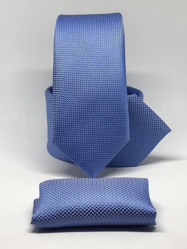 Kravat Gezegeni Mavi Renk Slim Fit Oxford Kuş Gözü Desen Mendilli Kravat