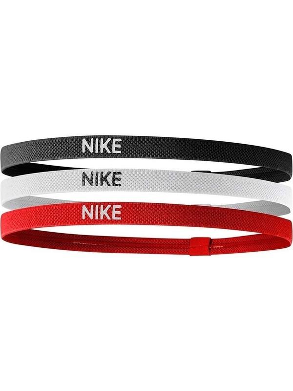 Nike Elastik Saç Bandı 3 lü Paket Kırmızı-Beyaz-Siyah