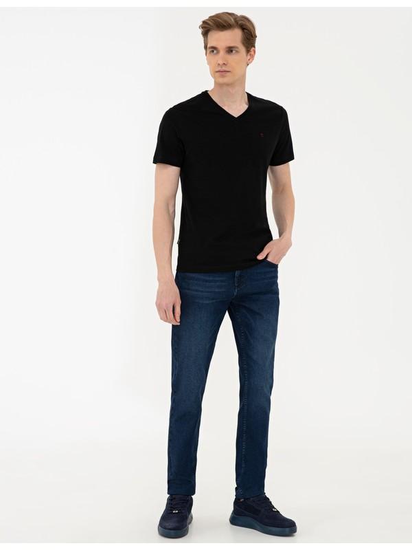 Pierre Cardin Siyah Slim Fit Basic V Yaka T-Shirt 50239846-VR046