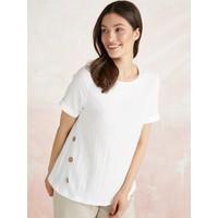 Faik Sönmez Bürümcük Görünümlü Düğme Detaylı T-Shirt 62527