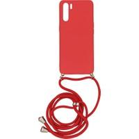 Oppo Reno 3 Içi Kadife Boyun Askılı Liquid Silikon Kılıf Kırmızı