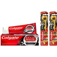 Colgate Optic White Aktif Kömür Diş Macunu 50 ml + 2 Adet 360 Gold Siyah Diş Fırçası