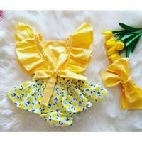 Miray Bebe Bandanalı Limon Desen Salopet Takım