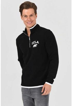 Cornıng Siyah Yarım Fermuarlı Baskılı Erkek Sweatshirt