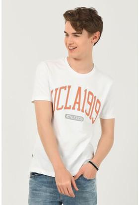 Norden Beyaz Bisiklet Yaka Erkek T-Shirt