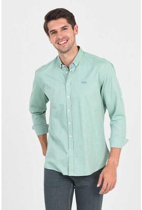 Ucla Yeşil Oxford Nakışlı Erkek Gömlek