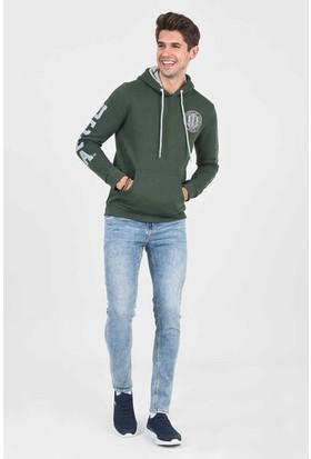 Obıspo Yeşil Kapüşonlu Baskılı Erkek Sweatshirt