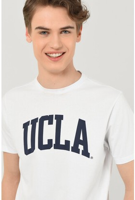 Culver Beyaz Bisiklet Yaka Baskılı Erkek Tshirt