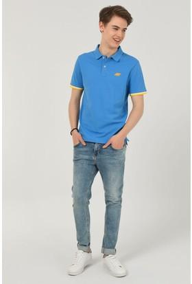 Ucla Bruno Mavi Polo Yaka Nakışlı Erkek Tshirt