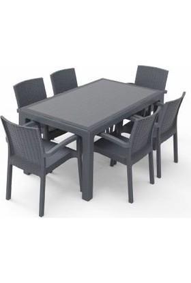 Violet Rattan Trend Lüx Camlı Masa Takımı 6 Sandalyeli Antrasit 90 x 150 cm