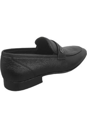 Kemal Tanca Hakiki Deri Erkek Ayakkabı Kösele Taban Siyah 04813