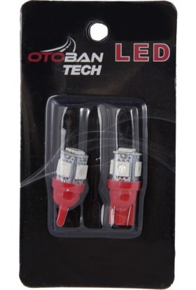 Otoban T10 Park-Plaka-Tavan LED Ampül Dipsiz 5 LED 12 V Kırmızı Otoban