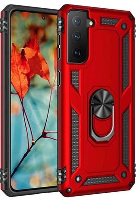 Moserini Samsung Galaxy S21 Plus Kırmızı Zırhlı, Yüzüklü, Tank Telefon Kılıfı - Arka Kapak