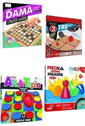 Redka Dama + 9/3 Taş Oyunu + Atla Topla + Kızma Birader (4'lü Set)