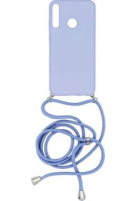 Huaweı P40 Lite-E Içi Kadife Boyun Askılı Liquid Silikon Kılıf Lila