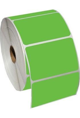 On Roll Paper 80X40 Yeşil Renkli Termal Barkod Etiketi 1000'LI Sarım 10 Rulo Toplam: 10.000 Adet