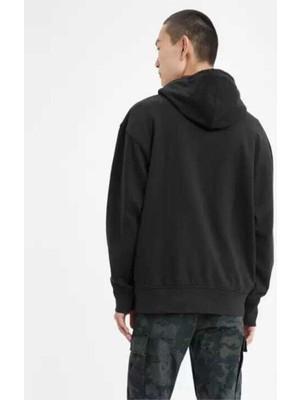 Levi's Graphic Po Housemark Black Hoddie Siyah Beyaz Logo Kopüşonlu Erkek Sweatshirt