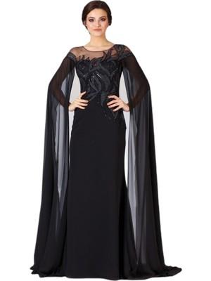 Niobe Siyah Yuvarlak Yaka Kolları Uzun Tül Detaylı Abiye Gece Elbisesi