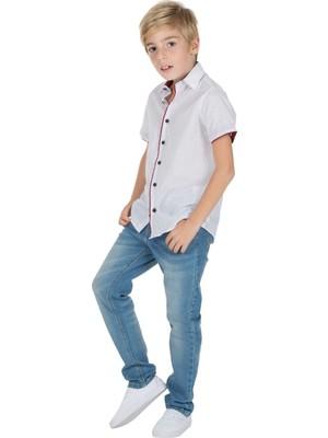 Silversun Silversunkids   Erkek Genç Mavi Renkli Desenli Kısa Kollu Dokuma Gömlek   Gc 316242