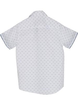 Silversun Silversunkids   Erkek Genç Beyaz Renkli Desenli Kısa Kollu Dokuma Gömlek   Gc 316251